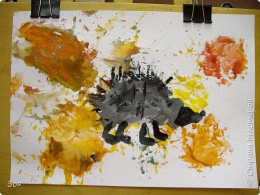 """Отпечатки листьев: """"Ежики идут спать..."""" фото 2"""