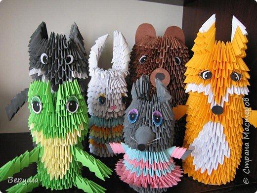 Оригами модульное: Герои сказки Теремок