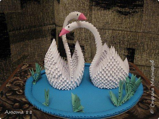 Оригами модульное: Пара белоснежных лебедей