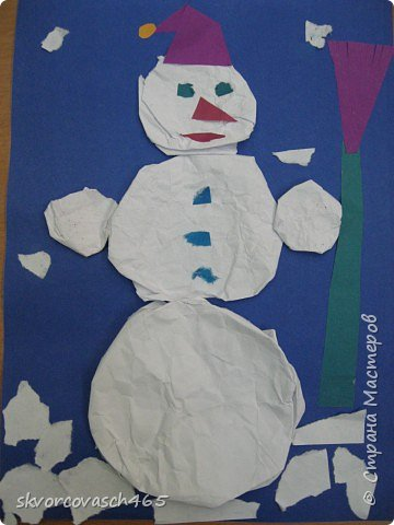 Аппликация: Лепим снеговика фото 1
