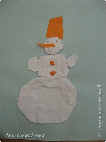 Аппликация: Лепим снеговика фото 2