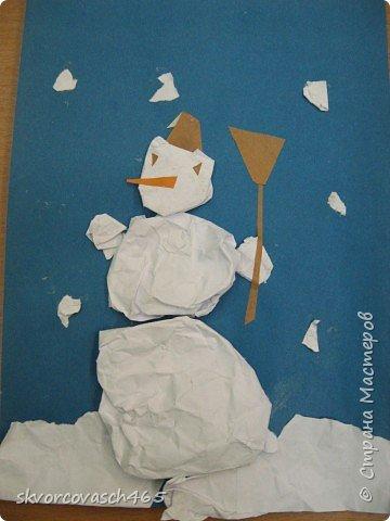 Аппликация: Лепим снеговика фото 3