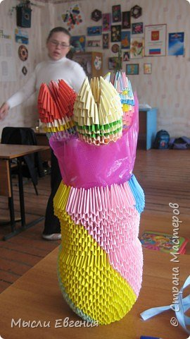 Оригами модульное: опять цветы и ваза фото 2