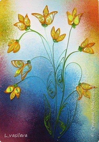 Квиллинг: Желтые тюльпаны фото 1