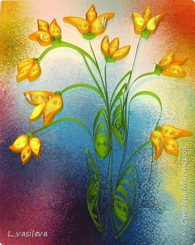 Квиллинг: Желтые тюльпаны фото 2