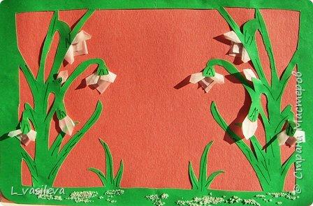 Вырезание симметричное: Пробуждение. Подснежники. фото 1