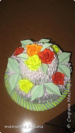 Оригами модульное: тортик фото 1