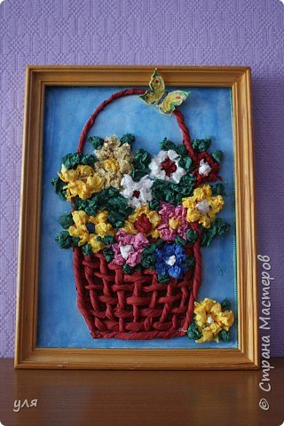 Аппликация: корзина цветов.