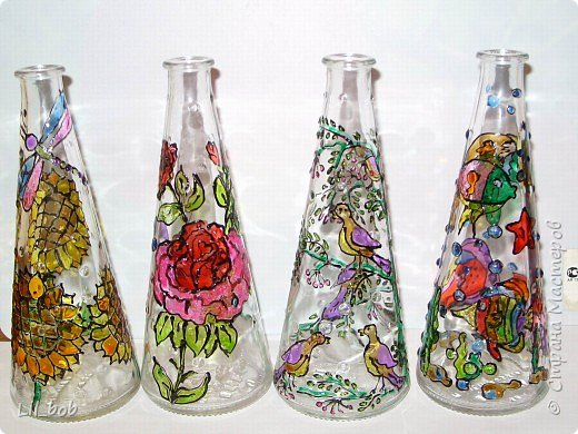 Витраж: Витражная роспись декоративных бутылочек фото 1