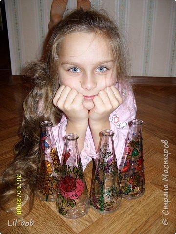 Витраж: Витражная роспись декоративных бутылочек фото 2