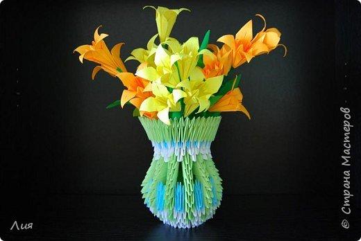 Оригами модульное: Ваза с лилиями