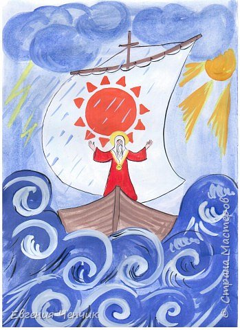 "Рисунок на тему ""Молитва Митрополита Алексия во время бури"""