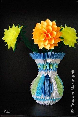 Оригами модульное: Ваза с хризантемами