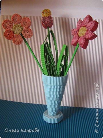 Квиллинг: Цветы в вазе