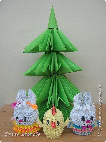 Оригами модульное: Хоровод у Новогодней ёлочки