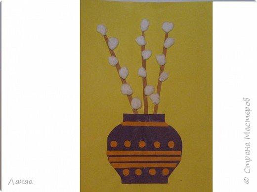 Аппликация: верба в вазе
