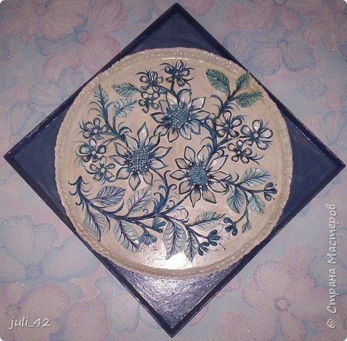 Лепка: Панно в бело-голубом цвете фото 1