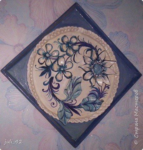 Лепка: Панно в бело-голубом цвете фото 3