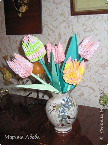 Оригами модульное: Тюльпанчики фото 3