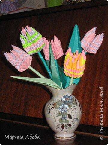 Оригами модульное: Тюльпанчики фото 5