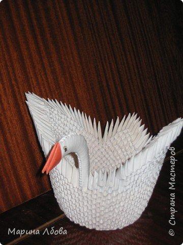Оригами модульное: Лебёдушка-кашпо для цветка фото 2