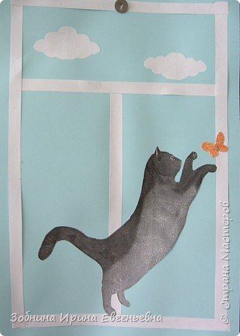 Аппликация: Села кошка на окошко фото 1