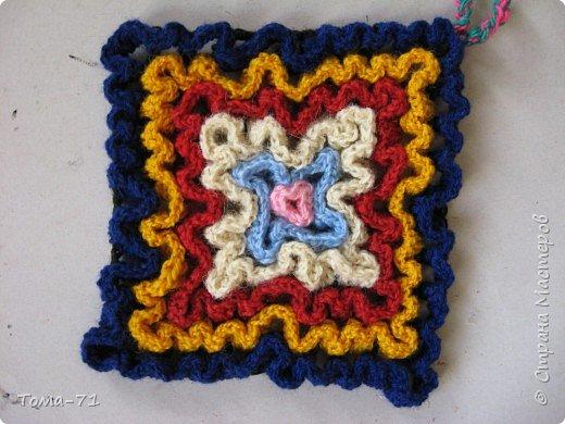 Вязание крючком: декоративная вязаная прихватка первый вариант