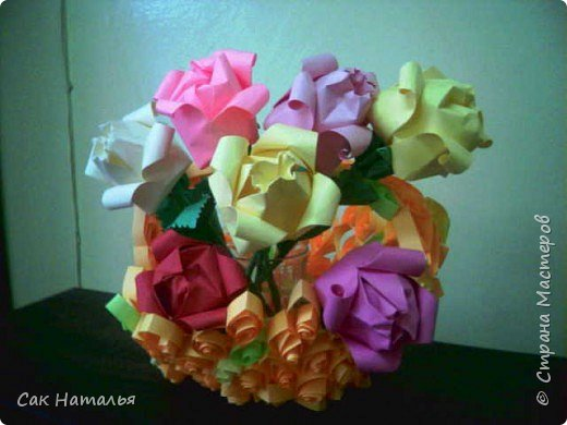 Квиллинг: Карзина с розами