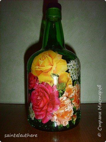 Декупаж: бутылочка 2 фото 1
