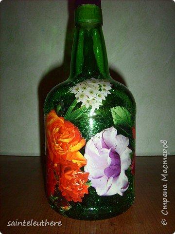 Декупаж: бутылочка 2 фото 2