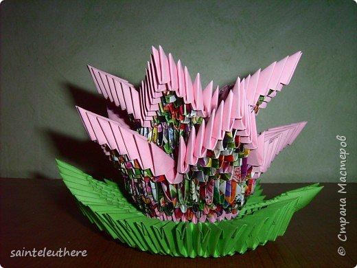 Оригами модульное: лилия на зеленом листочке фото 4