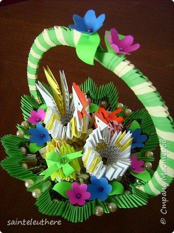 Оригами модульное: пасхальная композиция фото 3