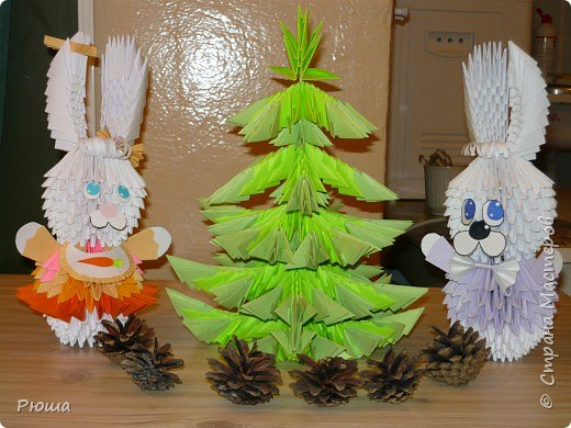 Оригами модульное: Зайцы на новогодней ёлке