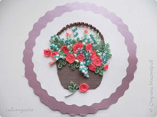 Квиллинг: Корзинка с розами фото 1