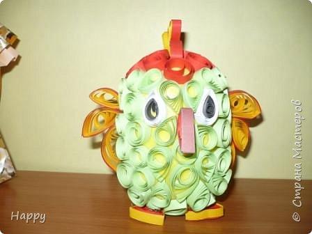 Квиллинг: зеленый попугай