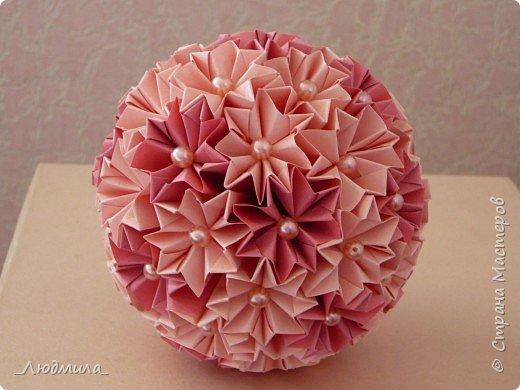 Моя первая кусудама в любимом розовом цвете.