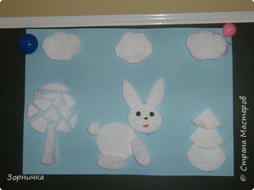 Аппликация: Снежный зайчик.