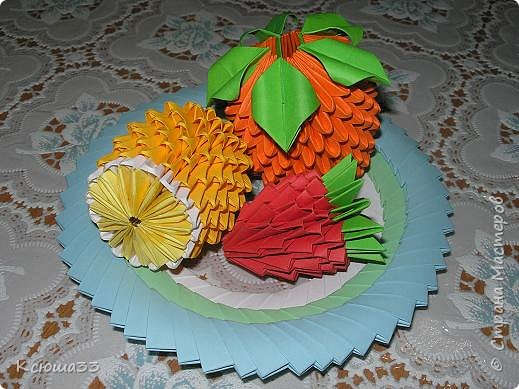 Оригами модульное: Тарелочка с фруктами.