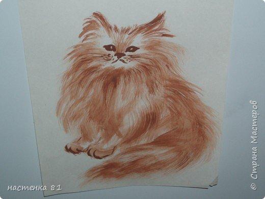 кошка акварелью фото 1