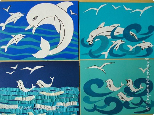 Аппликация: Дельфины Афалины