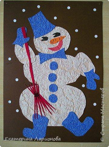 Аппликация: Снеговик в валенках