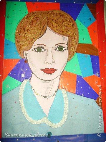 Аппликация: Портрет на юбилей бабушке