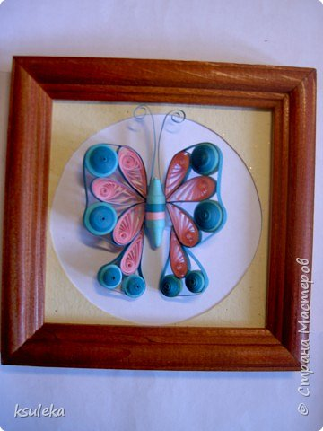 Квиллинг: Цветы и бабочка фото 4
