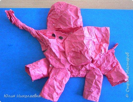 Бумагопластика: Слоник из мятой бумаги