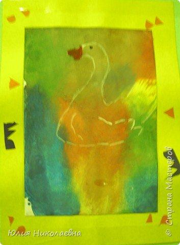 Монотипия: Лебедь белая плывет фото 1