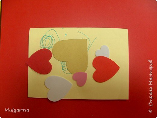 Аппликация: Открытка из сердечек фото 2
