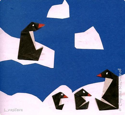 Аппликация, Оригами: Пингвины на льдине