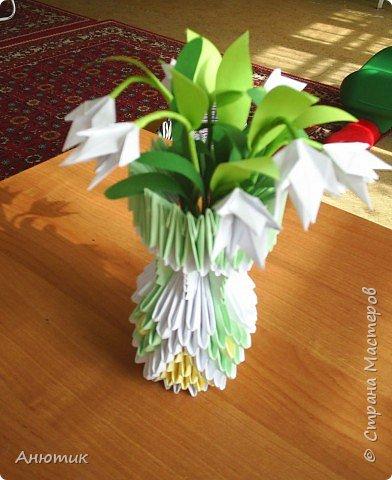 Оригами модульное: Вазочка с подснежниками фото 2