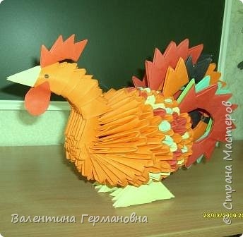 Оригами модульное: Петя-петушок