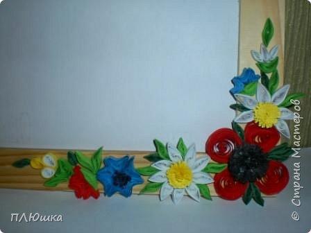 "Квиллинг: Рамочка ""Цветочная поляна"" фото 2"